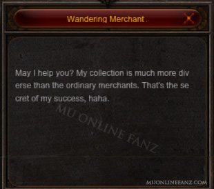 [Wandering Merchant Zyro] menu